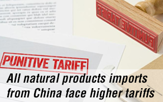 All natural products imports from China face higher tariffs